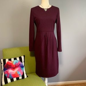 Lafayette 148 Plum Wool Long Sleeve Dress C3